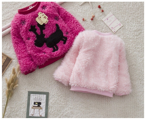 NEW 2015 Kids Girls Boys Winter Sweater cartoon Fawn Infant Baby wear thick velvet sweaters children pullovers clothing(China (Mainland))