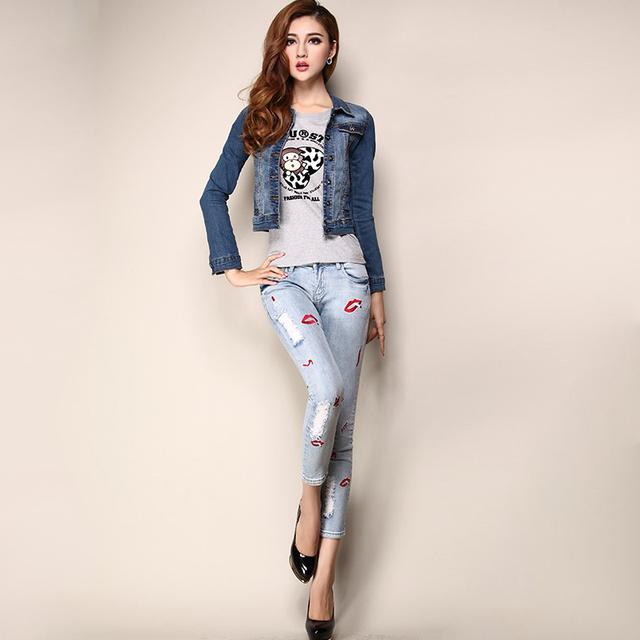 Короткая женщины костюм приталенный деним куртка для девочки джинсы негабаритных ...