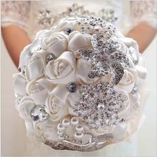 30 Choose Colors Sparkle Crystal Beaded Wedding Flowers Bouquet Bridesmaid Bride Bridal Brooch Bouquet 2016 New Buque De Noiva(China (Mainland))