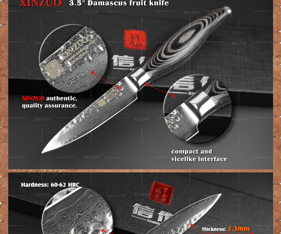 "Buy XINZUO 3.5"" inch paring knife Japanese 73 layers Damascus steel kitchen knife fruit knife with Color wood handle free shipping cheap"