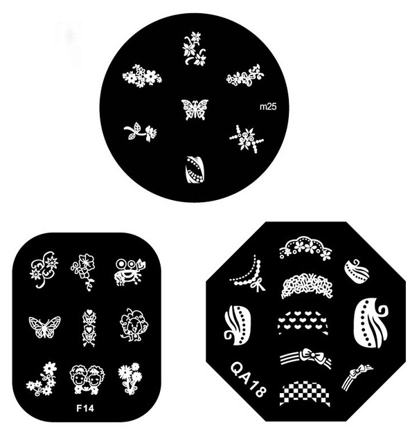 20pcs Good quality Stainless Steel Nail Art Stamping Metal Plate Printing Image Plate many Designs