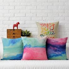 Nordic Watercolor Linen pillow cushion,pillowcase