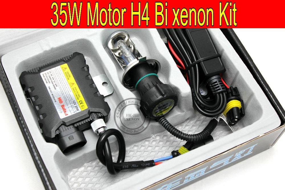 Free Shipping 1 set 35W H4 Hi/low bi xenon Motorcycle HID Conversion Kit/Xenon Kit Slim ballast,3000K,4300K,6000K,8000K,10000K(China (Mainland))