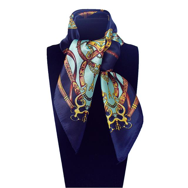 60 см * 60 см Женщин 2016 Новая Мода Имитационные Шелковый Евро Дизайн Ремень и Металлические Цепи Печатных Небольшой Площади шарф Горячей Продажи