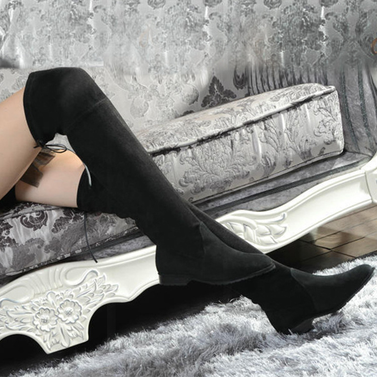 Wholesale Peppers With SW5050 Knee Boots With Elastic Low Heel Boots Leather Boots 2.5 Female Boots