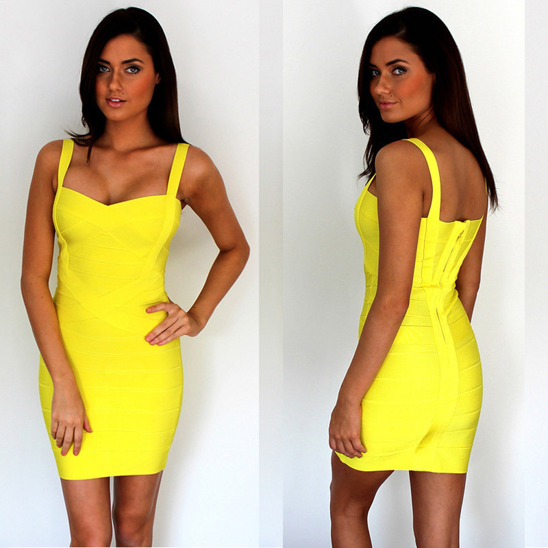 Free Shipping Summer Dress 2015 Ladies Casual Clothes Spaghetti Strap Bodycon Yellow Bandage Dress 9 Colors Available(China (Mainland))