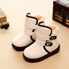 2016 new children's waterproof snow boots non-slip thick keep warm comfortable boys girls cotton boots cute shoes for kids(China (Mainland))