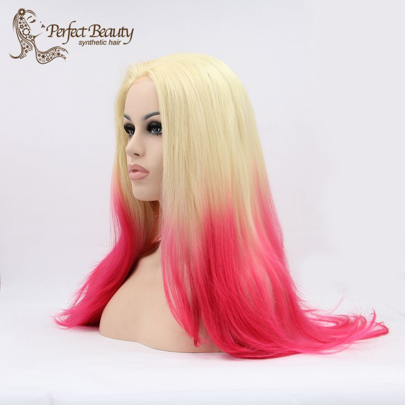 Synthetic Lace Front Wig Blonde to Pink Ombre Wig Long Straight Heat Resistent Anime Cosplay Lolita Wig Fashion Haircute<br><br>Aliexpress