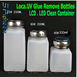 3 IN 1 OCA Loca UV-Glue Mobile Phone LCD LED Remover Cleaner Container Bottles Free Shipping(China (Mainland))