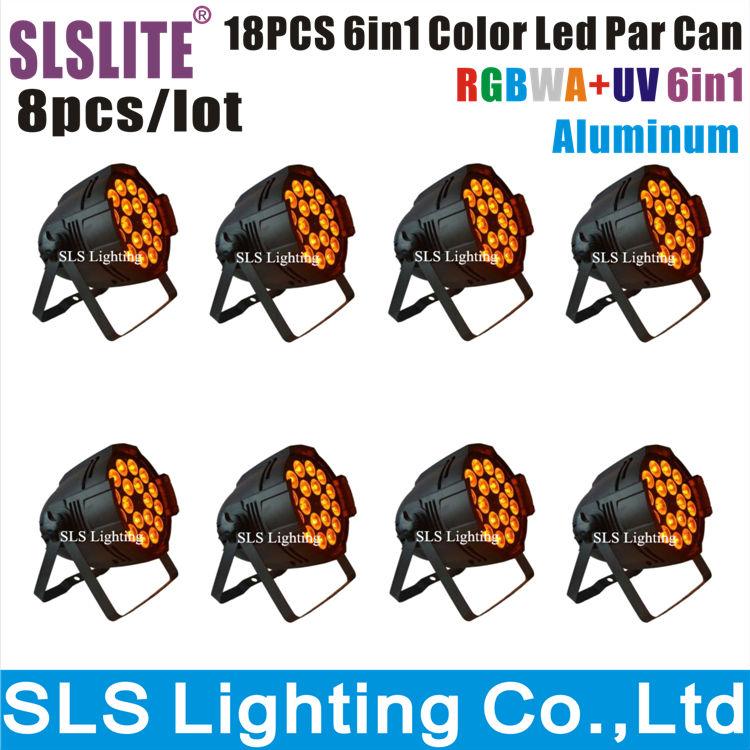 8pcs/lot 18x12w led par 6in1 RGBWA + UV led par can light high powerful stage led 18*12W wedding club dj led par can stage light(China (Mainland))
