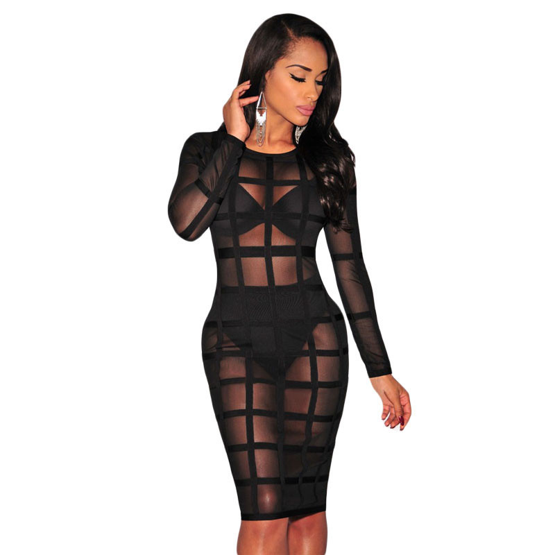 product Hot Online Sael Fashion O-Neck Full Sleeve Club Party Nightwear Sexy Nude/Black Bandage Caged  Lined Dress LC28382 Vestido