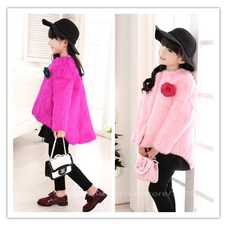 2016Children's Rabbit Fur Coat Baby Girls Autumn Winter Short Full O-Neck Jackets Kids Warm Solid High Quality Fur OuterwearCoat(China (Mainland))