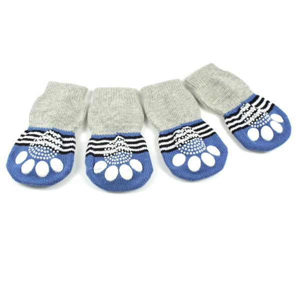 New 2015 4Pcs Pet socks indoor Pet Dog Soft Cotton Anti-slip Knit Weave Warm Cat Sock Skid Bottom Free shipping(China (Mainland))
