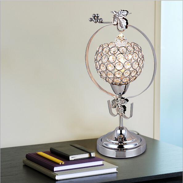 grap k9 crystal h 35cm silver golden led e14 table lamp living room