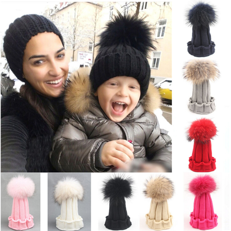 Fashion Children Winter Raccoon Fox Fur Hat For Girls Boys 100% Real Fur pompoms Ball Baby Beanies Cap Crochet Kids Knitted Hats(China (Mainland))
