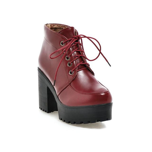 Красный новый осень зима женщина шнуровке круглый носок искусственная кожа квадратных высокий каблук мотоцикла сапоги панк женская обувь размер 34 - 43