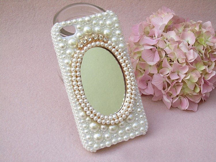 FreeShipping!Customize Pearls Mirror PC Phone Cover/Case for iphoneSix 6/6 Plus 4.7/5.5inch Cover Skins for IphoneFive 4S/5S/5C(China (Mainland))