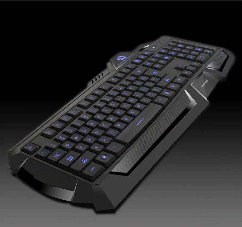 backlight gaming keyboard blue led usb wired for pc laptop keyboard. Black Bedroom Furniture Sets. Home Design Ideas