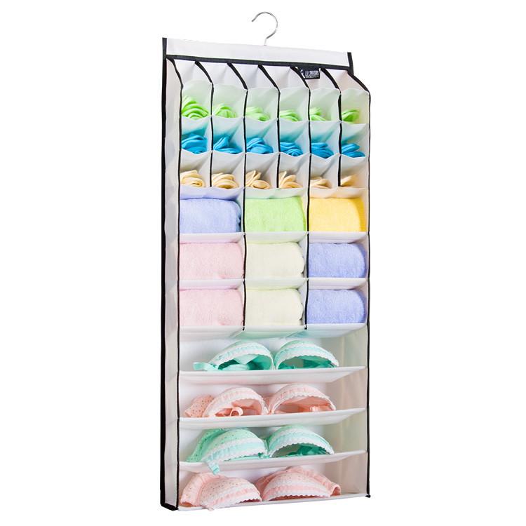 free shipping organization oxford Wall hanging bag fabric wardrobe Large Storage Box for underwear panties socks bra sorting(China (Mainland))