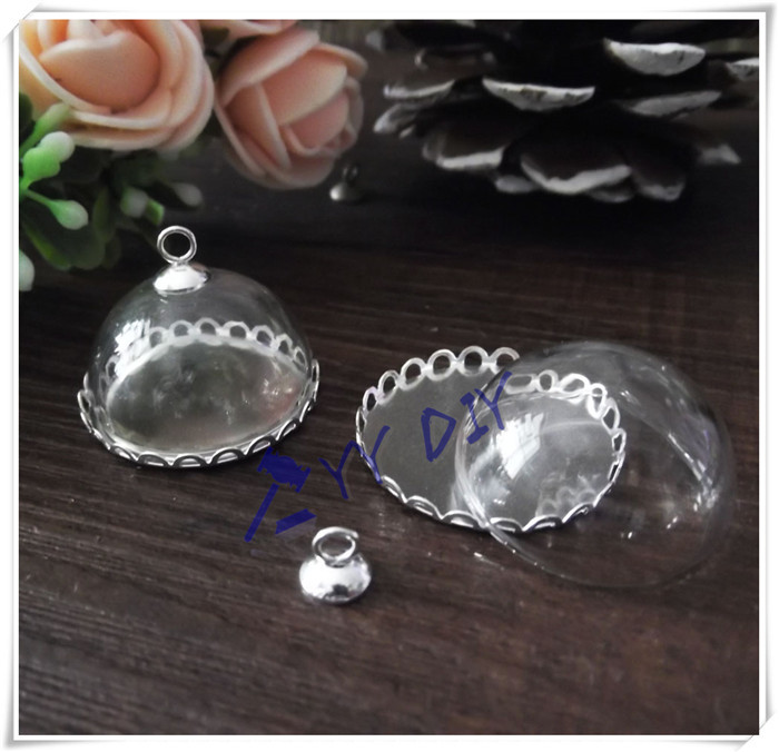 Free shipping! 100set/lot 20mm glass half globe with silver base&amp;cap / DIY Glass bubble vial pendant<br><br>Aliexpress