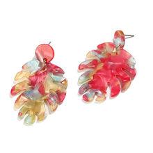 Statement Acrylic Earrings Bohemian Style Stud Earrings For Women Personalized Big Leaf Design Colorful Earrings Plant Earrings(China)