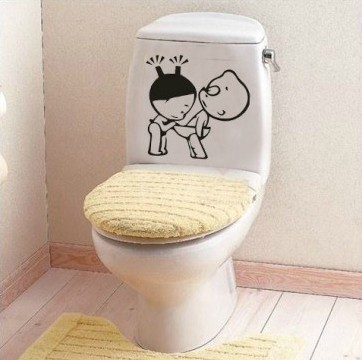 Decor sticker picture more detailed picture about 1 set 8 8 inch removable pvc decals funny for Toilet deco