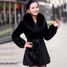 Hot sale New winter women fox fur collar faux rabbit fur coat Black slim jacket Luxury elegant ladies long mink spliced overcoat