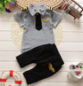 2016 new style clothes suit childern  baby boys summer clothing sets cotton kids tie gentleman outfits clothes set suit(China (Mainland))