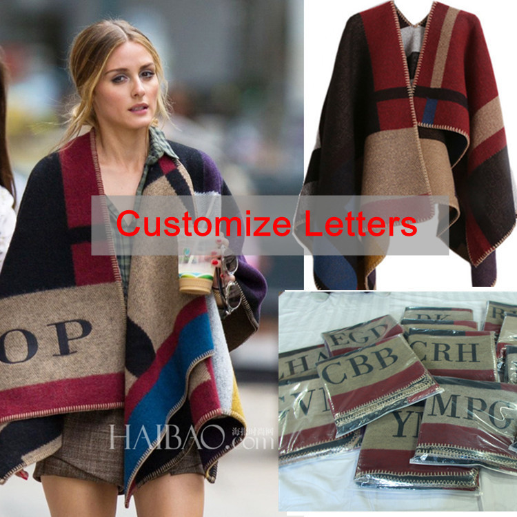 Oversized Sweater Cardigan 2015 Olivia Palermo Runway Catwalk Street Snap Knitted Cardigan Plaid Cape Poncho Shawl Women Lady(China (Mainland))