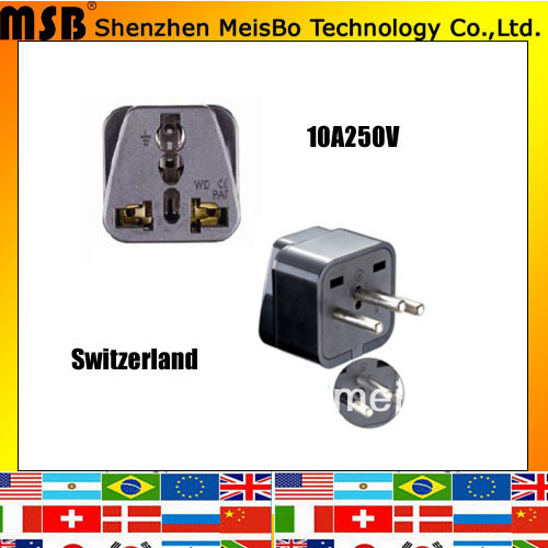 Professional 10A 250V ABS material Uk to Swiss plug adaptor for Swizealand 500pcs/lot free shipping by Fedex(China (Mainland))