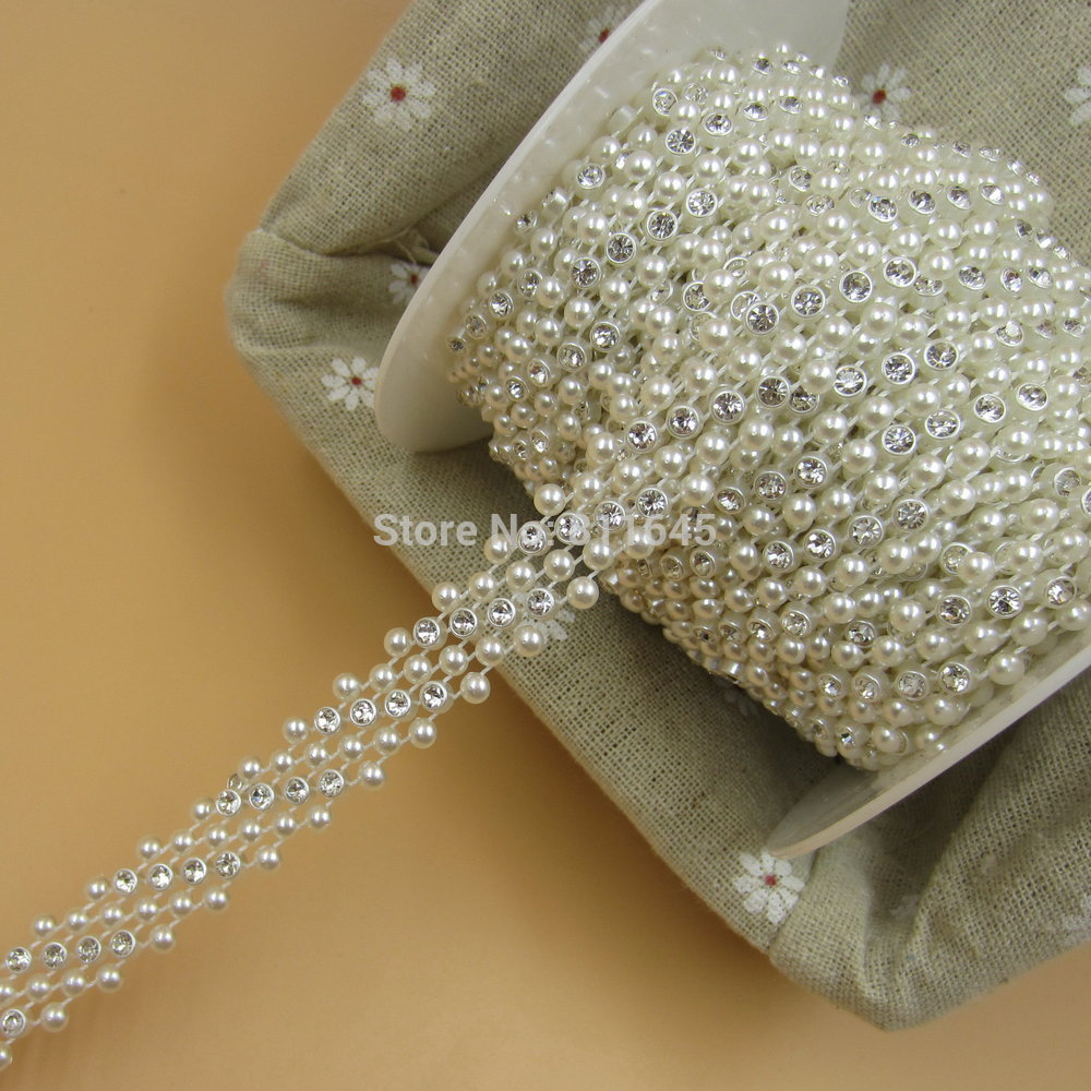 10 Yards clear crystal and Pearl chain, plastic cup chain, Rhinestone Mesh Trimming Cup Chain For Wedding Clothes Decorative<br><br>Aliexpress