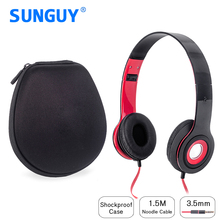 SUNGUY Common MP3 Music Headband Headphone Black Red 1.2m Wired Foldable Headphone with EVA Portable Carry Headphone Case