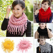 2015 Women Girl Infinity 2 Circle Knit Cowl Neck Long Tassel Scarf Shawl Winter Warm Knitted Scarf For Woman Fashion Designer(China (Mainland))