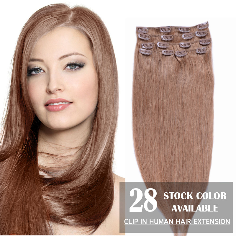 Best selling 15 18 20 22 24 70g 100g 110g Remy Clip in Human hair extension Color #60 Blonde free shipping<br><br>Aliexpress
