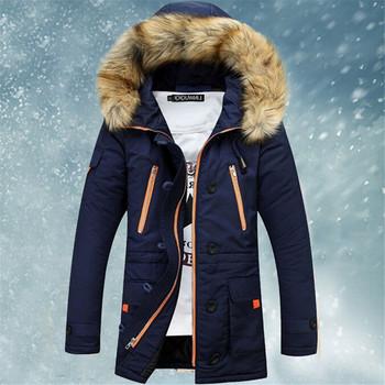 Мужская загущающие свободного покроя теплый енот надьямарош воротником утка зимняя куртка с капюшоном бренд пуховик парки VC2908