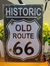 Buy Historic old Route 66 Vintage metal painting retro metal tin sign posters wall stickers home decor cafe bar pub wall decoration for $6.78 in AliExpress store