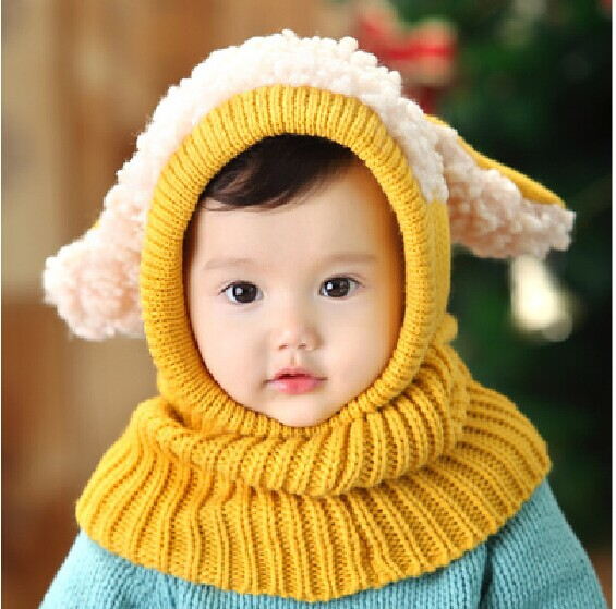 Siamese Puppy Scarf Winter New Baby Hat Wool Hat Winter Hat Hot Sale Beanie Hat Hooded Scarf Earflap Knit Cap Toddler Cute(China (Mainland))