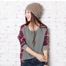 Women Checked Long Sleeve Sweatshirts Casual Loose Tops Blouse O Neck Pullover high quality Fast Free Shipping(China (Mainland))