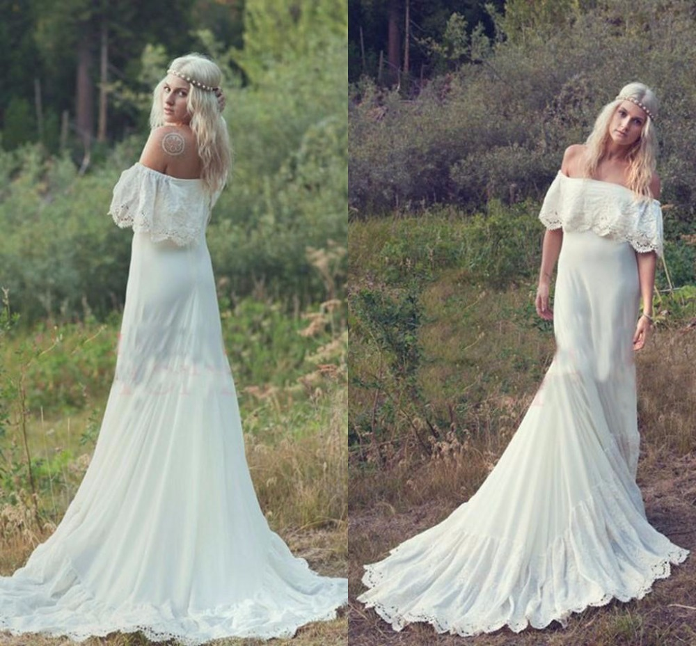 2016 Bohemian Styles A Line Cheap Wedding Dresses Hippie Bohemian Bridal Dress Cream Ivory Off