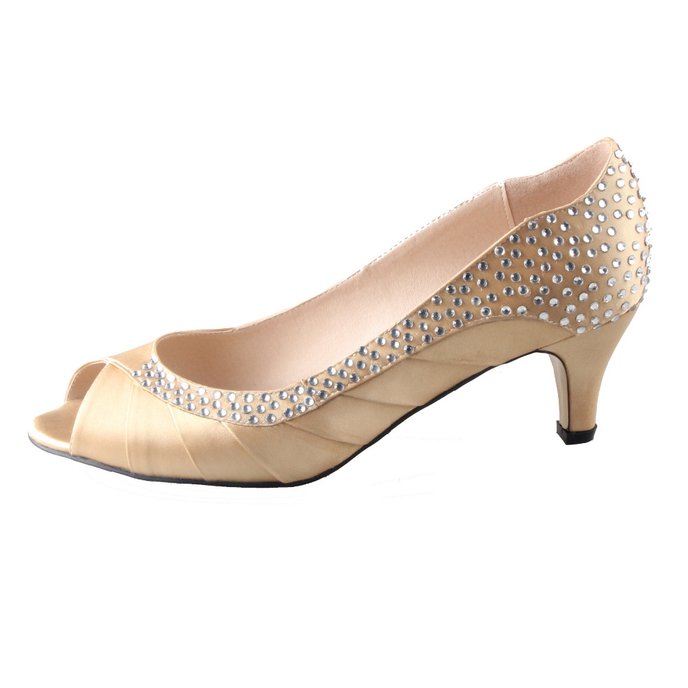 Gold Low Heel Evening Shoes