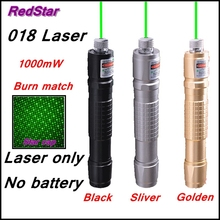 [RedStar]018 Green Laser only 1000mW  laser pointer pen starry head burn match 3 color body without 18650 battery and charger