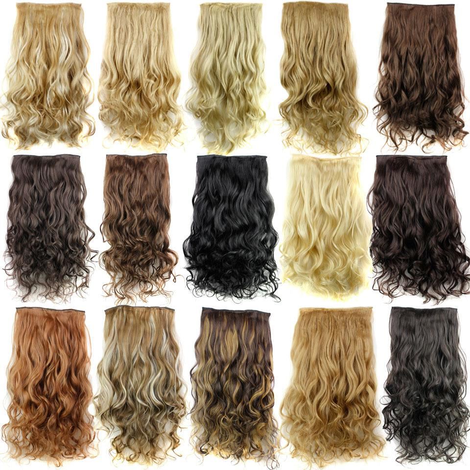 New Long 24inch 60cm Ladies' Clip in On Hair Extensions Curly Synthetic Hairpiece 15 Colors Available Full Head Free Shipping(China (Mainland))