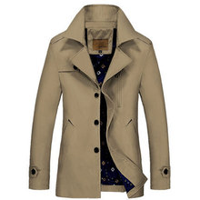 4XL Autumn 2015 Trench Masculino Korean Fashion Slim Long Coat Male Thin Solid Trench Coat Homme Male Trench Coats(China (Mainland))