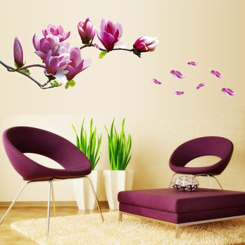 Purple magnolia flower wall stickers bedroom parlor wall stickers home decor living room paper - Flower wall designs for a bedroom ...