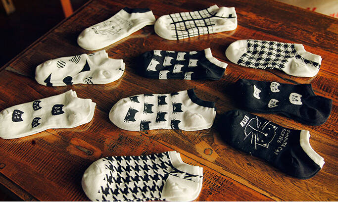 Minimum Order 2 Pairs Soft Socks Elastic Low Cut Grids Stripes Ankle Socks Cotton Houndstooth