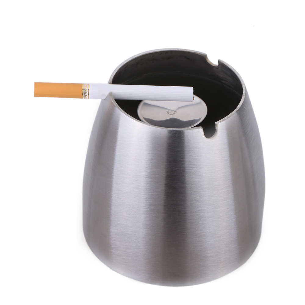 2016 New Stainless Steel cigarette ashtray Ashtray Windproof Taper Cigarette Cigar Ash Holder with Column Bracket(China (Mainland))