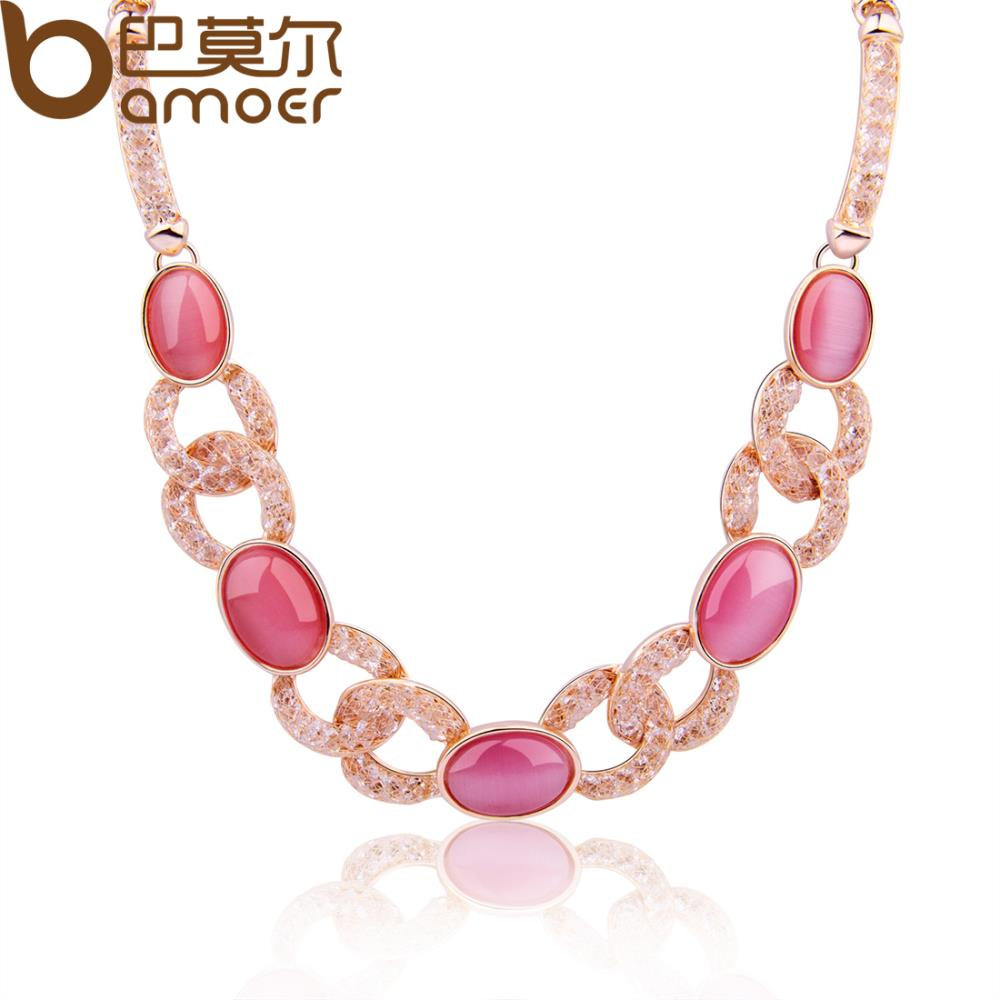BAMOER Trendy Cat's Eye Stone Chokers Necklace For Women Wedding 18K Gold Plated Austrian Crystal Birthday Gift Jewelry JSN086(China (Mainland))