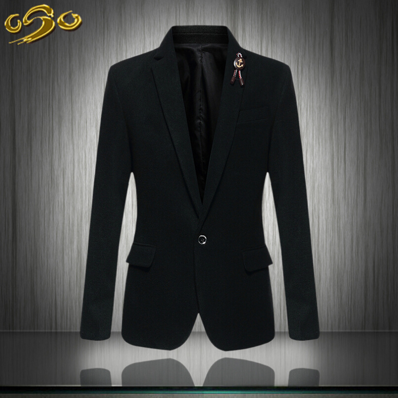 Mens blazer slim fit suit jacket black navy blue velvet 2016 spring autumn outwear coat Free shipping Suits For Men(China (Mainland))
