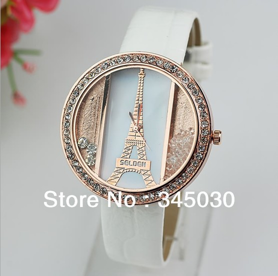 2013 new fashion women's watch quicksand Eiffel Tower belt watch drill table sell like hot cakes ladies watches free shipping(China (Mainland))