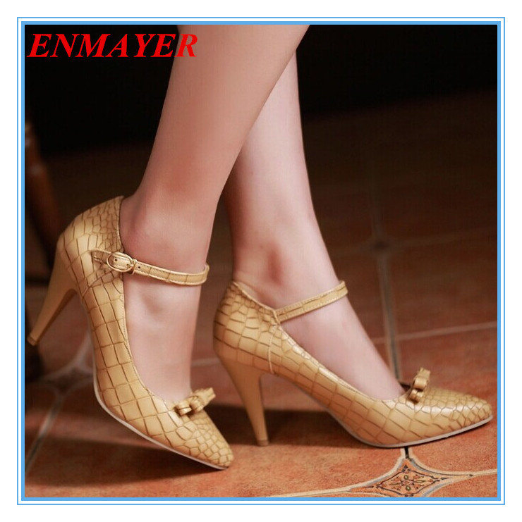 ENMAYER 2015 Designer Exhibit Women's Mary Jane Buckle Style Pumps Fashion Retro Chunky Med High Heels Less Platform Shoes PU